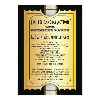 Film-Party-Programm-goldene Aufnahme-Karte 12,7 X 17,8 Cm Einladungskarte