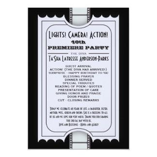 Film-Party-Programm in der lila Aufnahme-Karte 12,7 X 17,8 Cm Einladungskarte