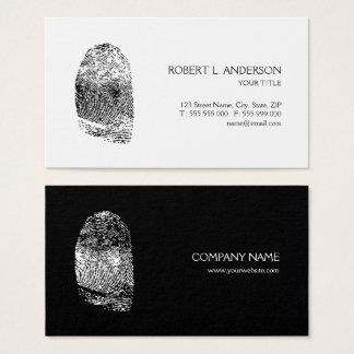Fingerabdruck-privater Forscher Schwarz-weiß Visitenkarten