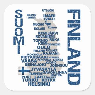 FINNLAND-KARTEN-Aufkleber Quadrat-Aufkleber