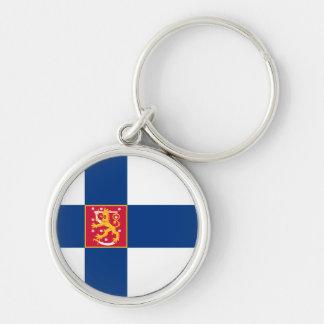 Finnland-Staats-Flagge Keychain Silberfarbener Runder Schlüsselanhänger