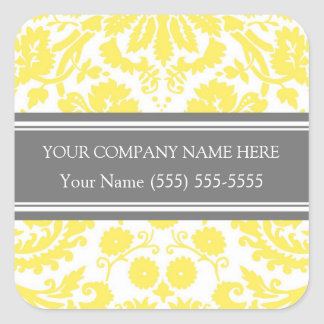 Firmennamen-Aufkleber-Gelb-Grau Business Custom Quadrat-Aufkleber