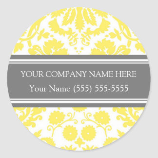Firmennamen-Aufkleber-Gelb-Grau Business Custom Runder Aufkleber