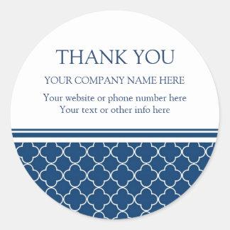 Firmennamen-Blau Quatrefoil Business Thank You Runder Aufkleber