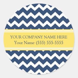 Firmennamen-blaues gelbes Zickzack Business Custom Runder Aufkleber
