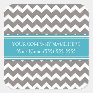 Firmennamen-graues aquamarines Zickzack Business Quadratischer Aufkleber