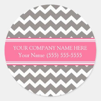 Firmennamen-graues rosa Zickzack Business Custom Runder Aufkleber