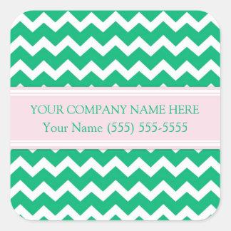 Firmennamen-Grün-Rosa Business Custom Company Quadratischer Aufkleber