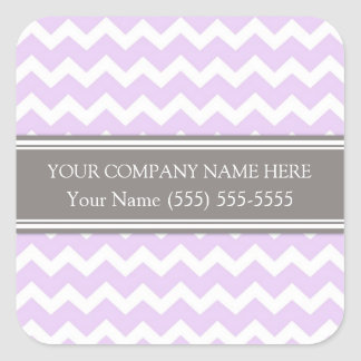 Firmennamen-lila graues Zickzack Business Custom Quadrat-Aufkleber