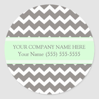 Firmennamen-Minzen-graues Zickzack Business Custom Runder Aufkleber