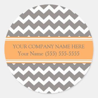 Firmennamen-orange graues Zickzack Business Custom Runder Aufkleber