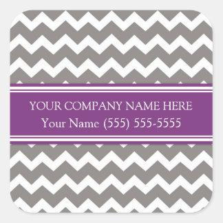 Firmennamen-Pflaumen-graues Zickzack Business Quadrat-Aufkleber