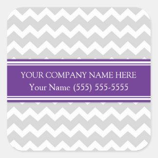 Firmennamen-Pflaumen-graues Zickzack Business Quadratischer Aufkleber