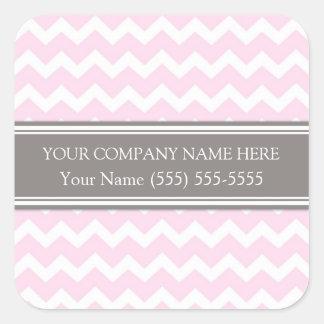 Firmennamen-Rosa-graues Zickzack Business Custom Quadratischer Aufkleber