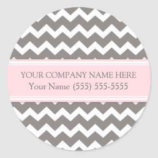 Firmennamen-Rosa-graues Zickzack Business Custom Runder Aufkleber
