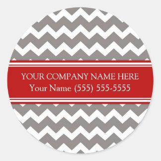 Firmennamen-rotes graues Zickzack Business Custom Runder Aufkleber