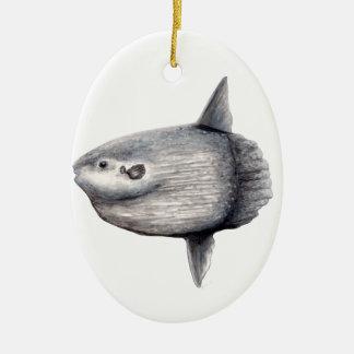 Fisch Mond Keramik Ornament
