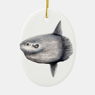 Fisch Mond Ovales Keramik Ornament