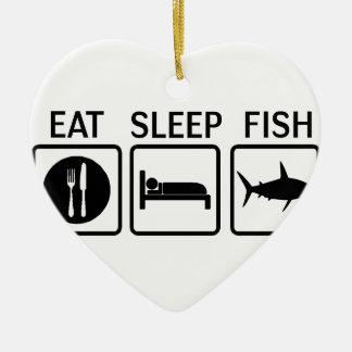 Fische essen Schlaf Keramik Herz-Ornament