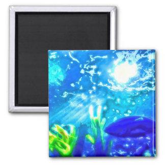 Fische unter dem Meer Quadratischer Magnet