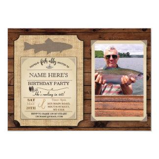 Fischen-Geburtstags-Party-laden hölzernes 12,7 X 17,8 Cm Einladungskarte