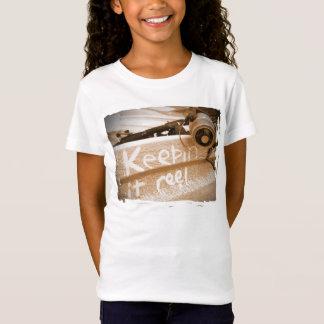 Fischen keepin es Spulenstrandfisch-Stangenbeige T-Shirt