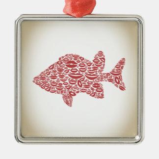 Fischen Sie eine Lippe Silbernes Ornament