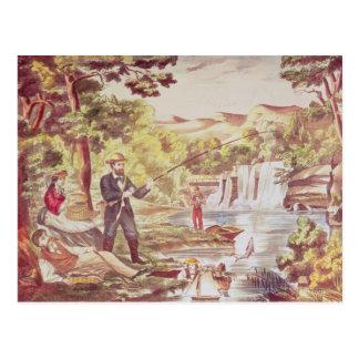 Fischen-Szene Postkarte