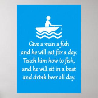 Fischen und Bier - sarkastische Zen-Phrase Poster