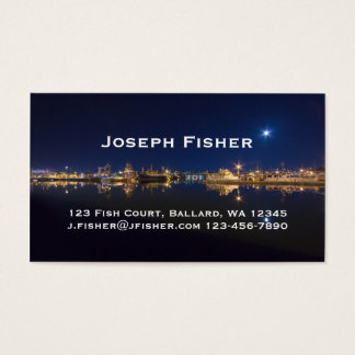 Fischer am Ende nachts in Ballard, Seattle Visitenkarte