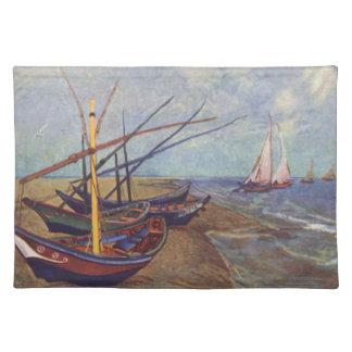 Fischerboote auf dem Strand durch Vincent van Gogh Stofftischset