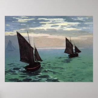 Fischerboote in Meer Poster