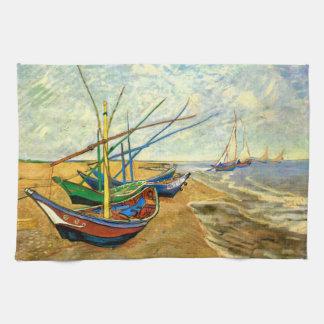 Fischerboote Van Gogh auf Strand bei Saintes Handtücher