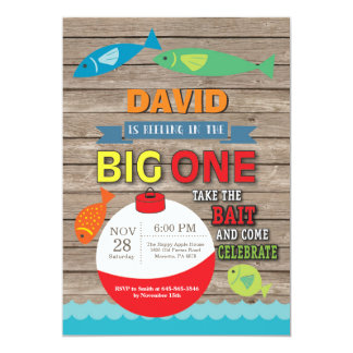 Fischerei erste Geburtstags-Einladung großes Karte