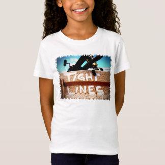 Fischerei feste Linien Angelrutenfischenspule T-Shirt