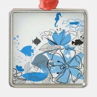 Fischt eine Blume Silbernes Ornament