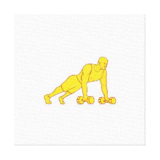 Fitness-Athlet drücken das Dumbbell-Zeichnen hoch Leinwanddruck