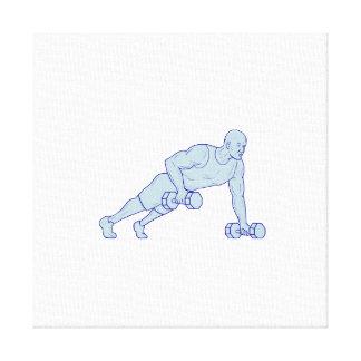 Fitness-Athlet drücken ein Handdumbbell-Zeichnen Leinwanddruck