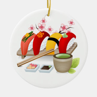 Fitness - Sushi! durch SRF Rundes Keramik Ornament