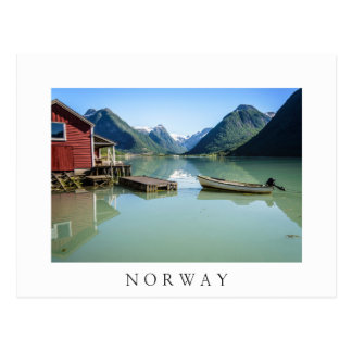 Fjordlandschaft in der weißen Textpostkarte Postkarte