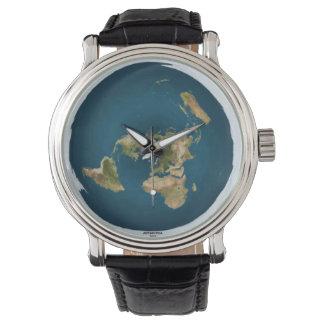 Flache Erdkarten-Armbanduhr Uhr