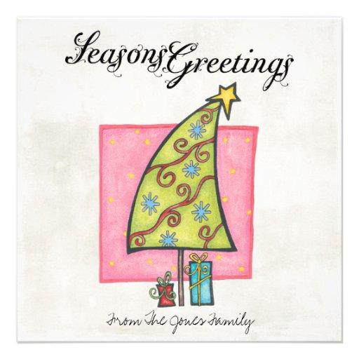 Flache Weihnachtsgruß-Karten Ankündigungskarte