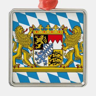 Flag of Bavaria Quadratisches Silberfarbenes Ornament