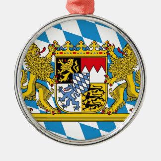 Flag of Bavaria Rundes Silberfarbenes Ornament