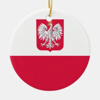 Flaga Polski - polnische Flagge mit Wappen Rundes Keramik Ornament