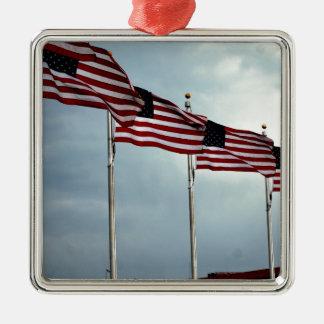 Flagge-Flagge spielt Streifen-Unabhängigkeit Juli Quadratisches Silberfarbenes Ornament