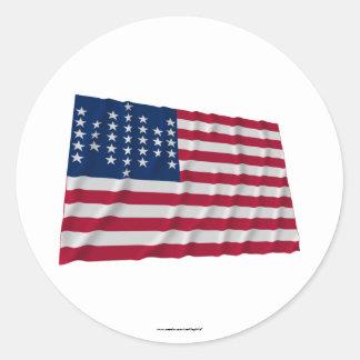 Flagge mit 33 Sternen, Fort Sumter Garnisonmuster Runder Aufkleber