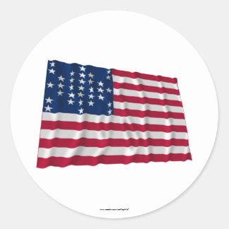Flagge mit 33 Sternen, Fort Sumter Sturmmuster Runde Aufkleber