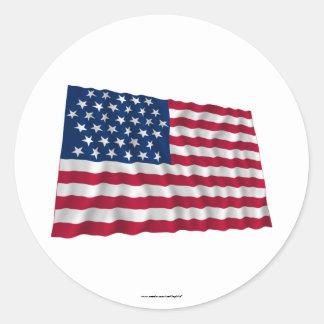 Flagge mit 35 Sternen, Bienenstockmuster Runder Aufkleber