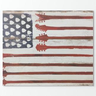 Flagge-patriotisches Gitarren-Musikthema Geschenkpapier